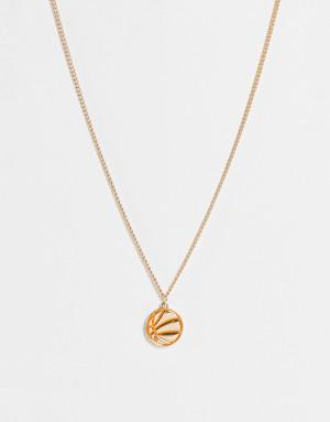 Золотистая цепочка с крупными звеньями и подвеской в виде баскетбольного мяча из эмали WFTW-Золотистый