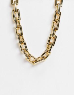 Золотистое массивное ожерелье-цепочка с квадратными звеньями EGO-Золотистый