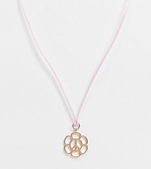 Ожерелье-шнурок с золотистой подвеской в форме цветка в стиле 70-х Reclaimed Vintage Inspired-Розовый цвет