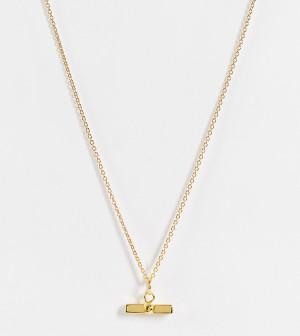 Ожерелье из позолоченного стерлингового серебра с Т-образной подвеской ASOS DESIGN-Золотистый