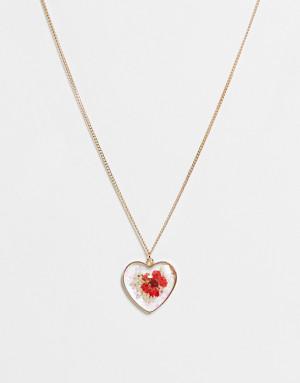 Золотистая цепочка с подвеской-сердечком и прессованным цветком Monki Laria-Золотистый