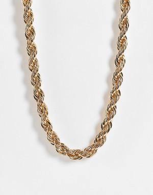 Золотистая массивная крученая цепочка-ожерелье Topshop-Золотистый