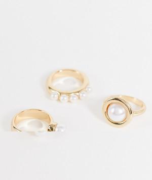 Набор из 3 золотистых колец с искусственным жемчугом ASOS DESIGN-Золотистый