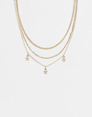 Золотистое ожерелье-чокер с подвесками в виде звезд Topshop-Золотистый
