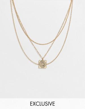 Золотистое ярусное ожерелье в стиле унисекс с подвеской со Св. Христофором Reclaimed Vintage Inspired-Золотистый
