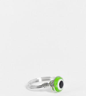 Серебристое кольцо-имитация кольца из проволоки со вставкой в виде зеленого глаза ASOS DESIGN Curve-Серебряный ASOS Curve