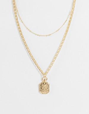 Золотистое ожерелье-цепочка с украшенной стразами подвеской Topshop-Золотистый