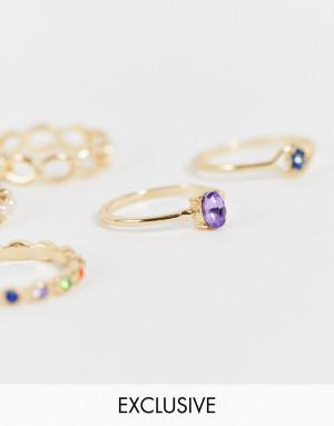 Набор из 5 золотистых колец с разноцветными искусственными камнями Reclaimed Vintage Inspired-Золотистый