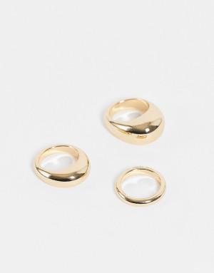 Набор из 3 золотистых колец Weekday Amina-Золотистый